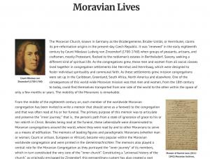 Moravian Lives digital editions